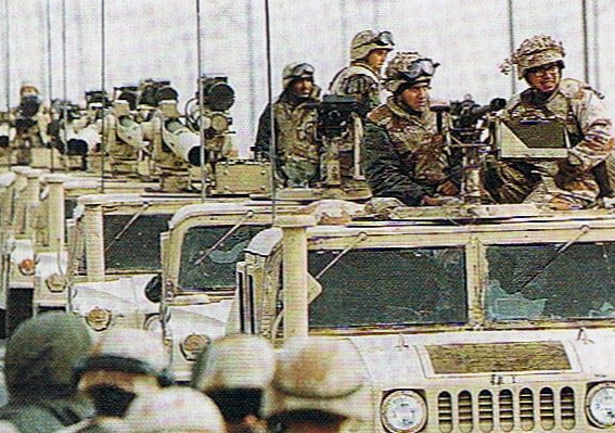 The Gulf War: US marines at Khabji, Saudi Arabia, reinforcing the front line with Iraqi-occupied Kuwait. They suffered casualties here.