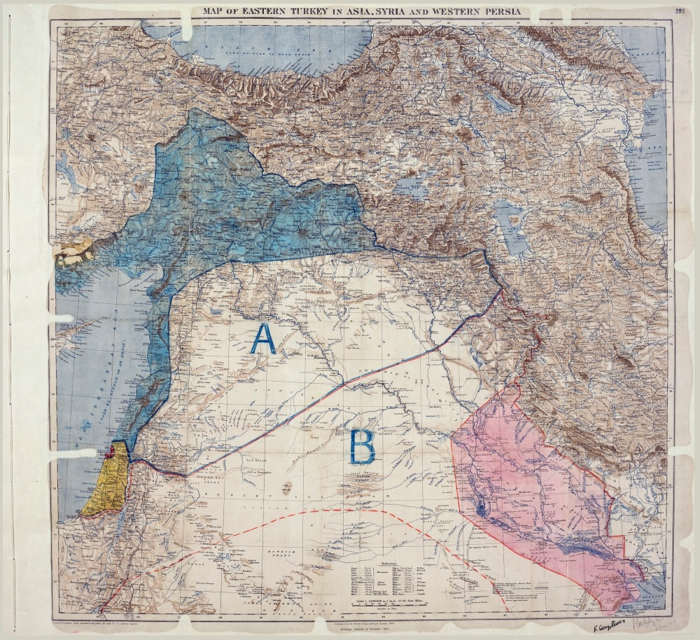 Map of the Sykes–Picot agreement, which was signed by Mark Sykes and François Georges-Picot on May 8, 1916.
