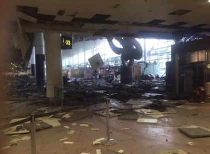 Ravage in departure hall after bomb-blast at Brussels Airport departure hall 2016 03 22