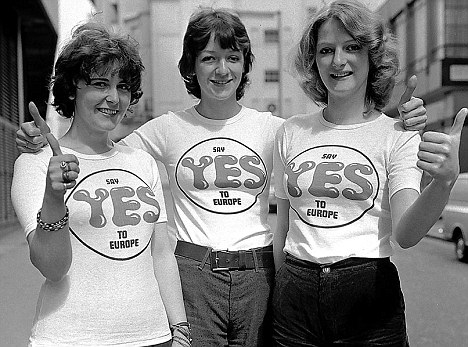 Yes girls: Pro-EEC campaigners back Brussels at the 1975 referendum